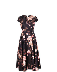 Vestido midi con print de flores negro de Rochas