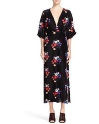 Vestido midi con print de flores negro de Tanya Taylor