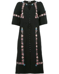 Vestido midi con print de flores negro de Vilshenko