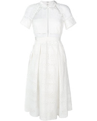 Vestido midi de crochet blanco