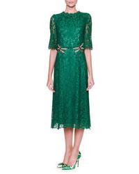 Vestido midi de encaje con adornos verde de Dolce & Gabbana
