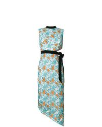 Vestido midi de encaje con print de flores celeste de Three floor