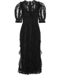 Vestido midi de encaje negro de Dolce & Gabbana
