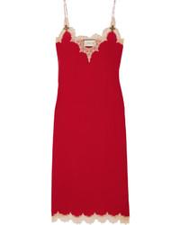 Vestido Midi de Encaje Rojo de Gucci