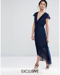 Vestido midi de gasa azul marino