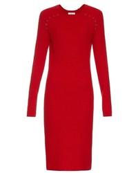 Vestido midi de lana de punto rojo
