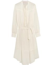 Vestido midi de lino blanco