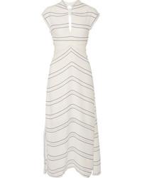 Vestido midi de rayas horizontales blanco de Proenza Schouler