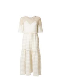 Vestido midi de rayas horizontales en beige de Sonia Rykiel