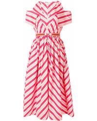 Vestido midi de rayas horizontales rosado de Fendi
