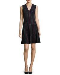 Vestido midi de rayas verticales negro de Kate Spade