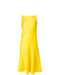 Vestido midi de satén amarillo