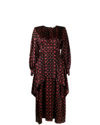 Vestido midi de seda estampado burdeos de Fendi