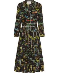 Vestido midi de seda estampado negro de Gucci