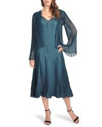 Vestido midi de tul en verde azulado