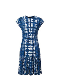 Vestido midi efecto teñido anudado azul marino