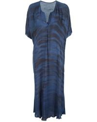 Vestido midi estampado azul marino