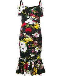 Vestido midi estampado negro de Dolce & Gabbana