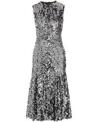 Vestido midi plateado de Dolce & Gabbana