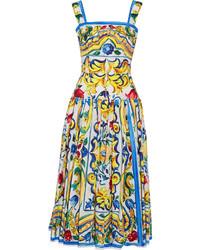 Vestido midi plisado amarillo de Dolce & Gabbana