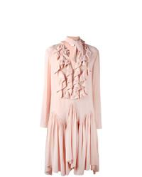 Vestido midi plisado rosado de Chloé