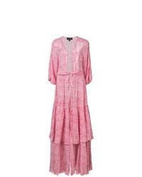 Vestido playero con print de flores rosado de Saloni