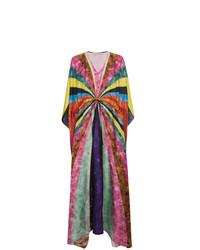 Vestido playero de seda de rayas horizontales en multicolor de Mary Katrantzou