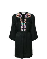Vestido recto bordado negro de Etro