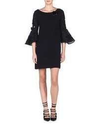 Vestido recto bordado negro de Fendi