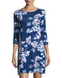 Vestido recto con print de flores azul marino