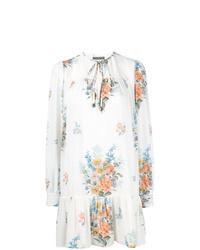 Vestido recto con print de flores blanco de Alexander McQueen