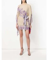 Vestido recto con print de flores en beige de Twin-Set