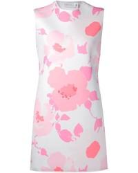 Vestido recto con print de flores rosado de Victoria Beckham