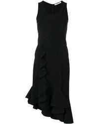 Vestido recto con volante negro de Givenchy