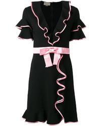 Vestido recto con volante negro de Gucci