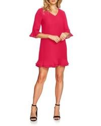 Vestido recto con volante rosa