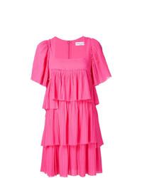 Vestido recto con volante rosa de Sonia Rykiel
