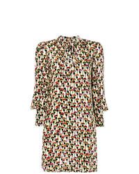 Vestido recto de ante estampado marrón de Chloé