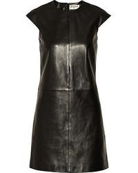 Vestido recto de cuero negro