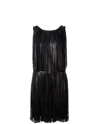 Vestido recto de cuero сon flecos negro de Sonia Rykiel