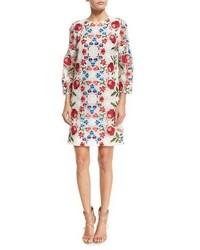 Vestido recto de encaje con print de flores blanco de Burberry