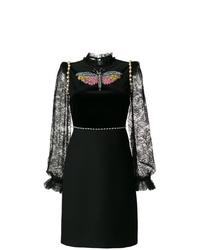 Vestido recto de encaje negro de Gucci