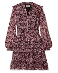 Vestido recto de gasa con print de flores rosado