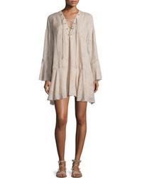 Vestido recto de gasa estampado en beige