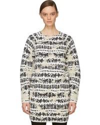 Vestido recto de lana estampado en blanco y negro de Alexander McQueen