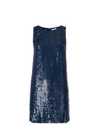 Vestido recto de lentejuelas azul marino