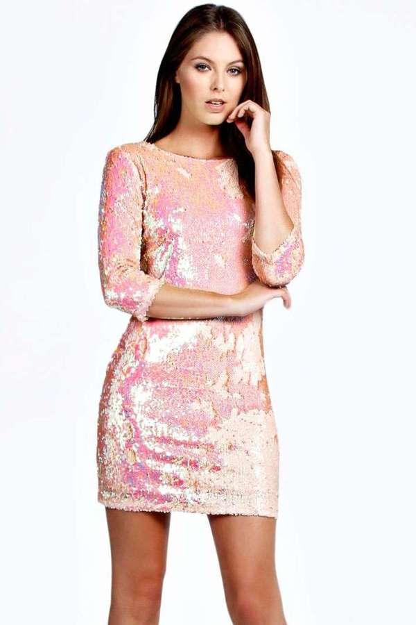 Vestido recto de lentejuelas rosado de Boohoo: dónde comprar y cómo ...