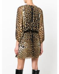 Vestido recto de leopardo marrón claro de Saint Laurent