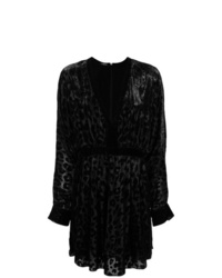 Vestido recto de leopardo negro de Balmain