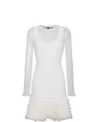 Vestido recto de malla con volante blanco de Proenza Schouler